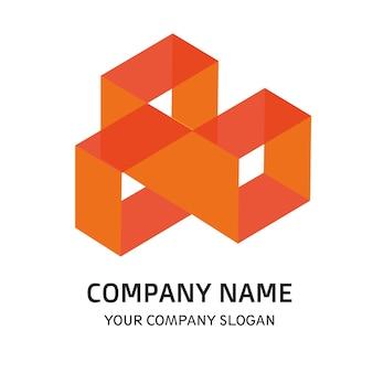Orange square company logo vector template