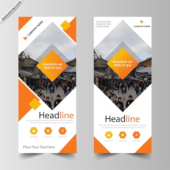 Orange square roll up banner template