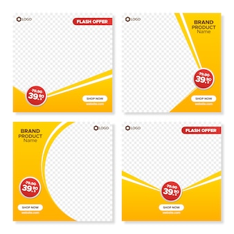 Orange square sale banner templates for web and instagram
