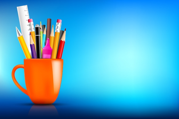 Orange stationary mug with pen pencil eraser marker on dark background