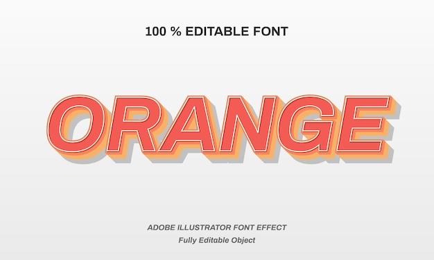 Orange strong blod font effect Premium Vector