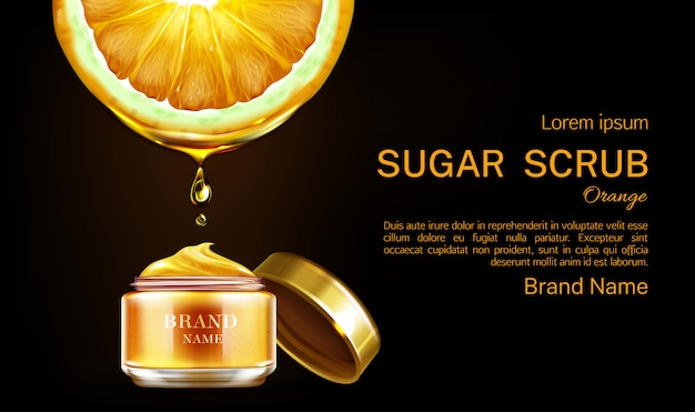 Orange sugar scrub cosmetics jar banner .