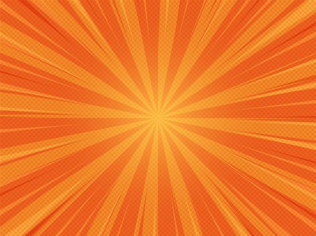 オレンジ色の夏抽象的な漫画漫画日光背景 Premiumベクター