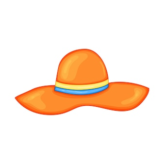 .orange summer hat for beach in cute cartoon style. vector illustration isolated on white background.