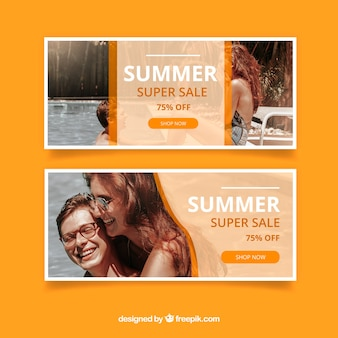 Orange summer sale banners with image