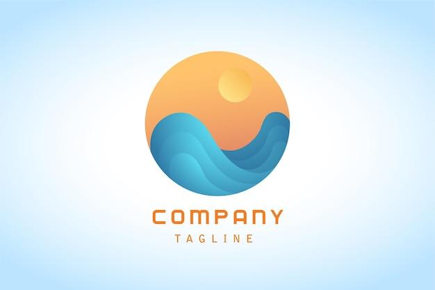 Оранжевое солнце с синей волной наклейка градиентный логотип