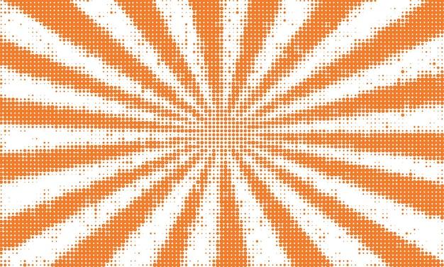 Orange sunburst in  halftone style background