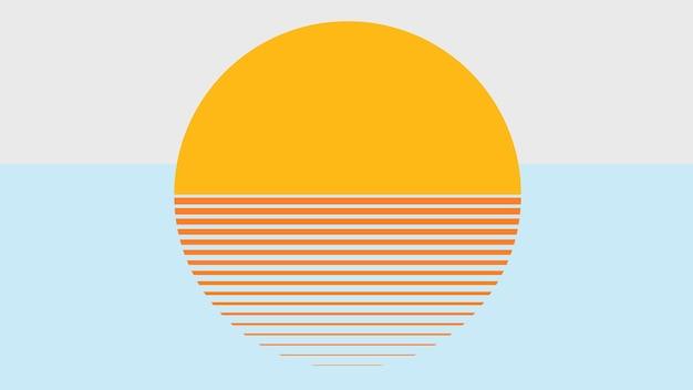 Carta da parati blu di vettore estetico tramonto arancione