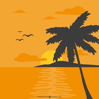 Orange sunset and a palm tree silhouette