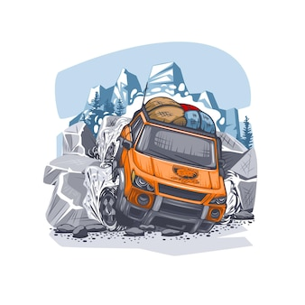 Orange suv overcomes difficult obstacles in the mountains with luggage on the roof.