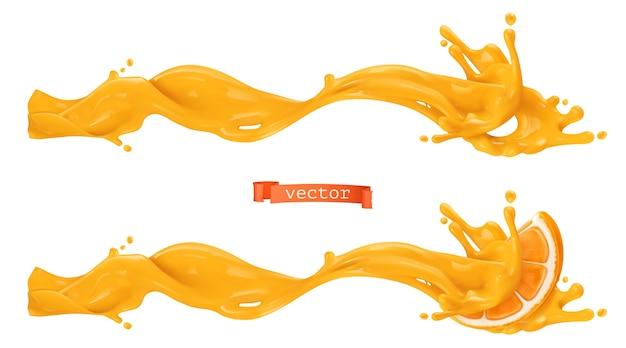 オレンジ色の甘いスプラッシュ。 3dリアルなベクトル図