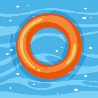 Anello di nuoto arancione nell'acqua isolato