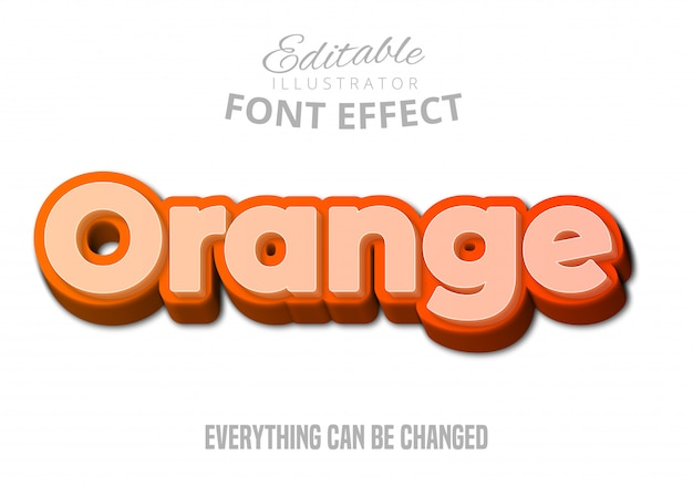 Orange text, editable font effect