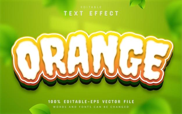 Orange text effect cartoon style editable