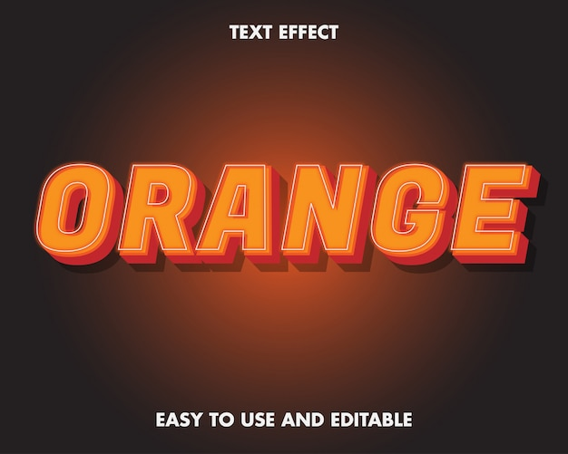 Orange text effect. editable text effect and easy to use. premium vector illustration