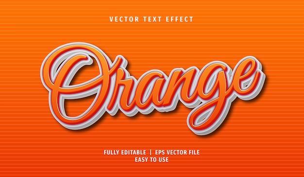 Orange text effect, editable text style