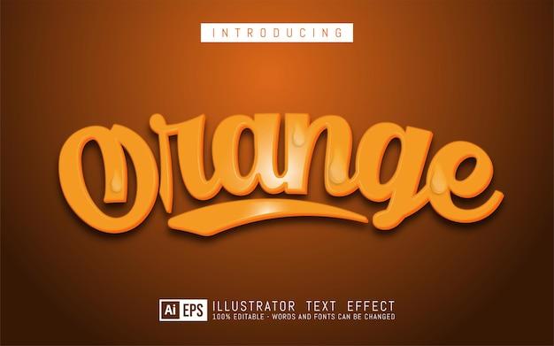 オレンジ色のテキスト効果、編集可能な3次元テキストスタイル
