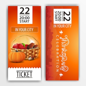 A orange ticket for the thanksgiving celebration
