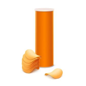 Оранжевая жестяная коробка с картофельными чипсами