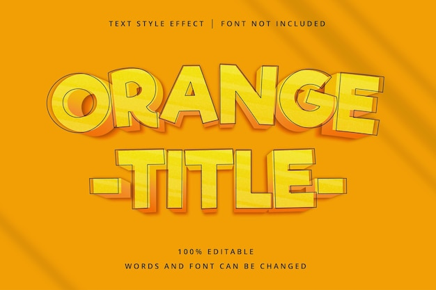 Orange title editable text effect