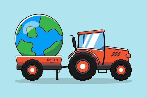 Оранжевый трактор с планетой земля