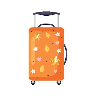 바퀴에 주황색 여행 가방