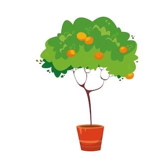 ポットのオレンジの木漫画スタイルのベクトルイラスト孤立したクリップアート