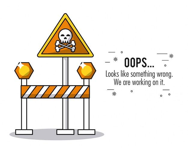 頭蓋骨、骨、文章のオレンジ色の三角道路標識