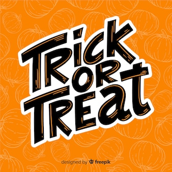 Orange trick or treat lettering