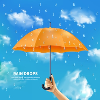 Orange umbrella on cloudy sky background
