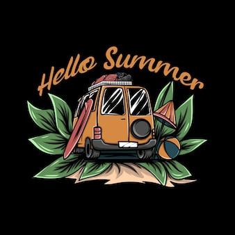 サーフィンボードと黒の背景のイラストの周りの葉とビーチボールとオレンジ色のバン