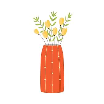 オレンジ色の花瓶黄色いチューリップの花