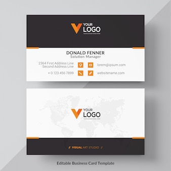 Orange visit card free vector