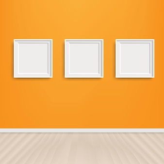 Orange wall with picture frame with gradient mesh