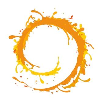 白い背景の上のオレンジ色の水のスプラッシュリングの形、ベクトル図