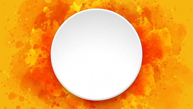 Orange watercolor background with white circle frame.