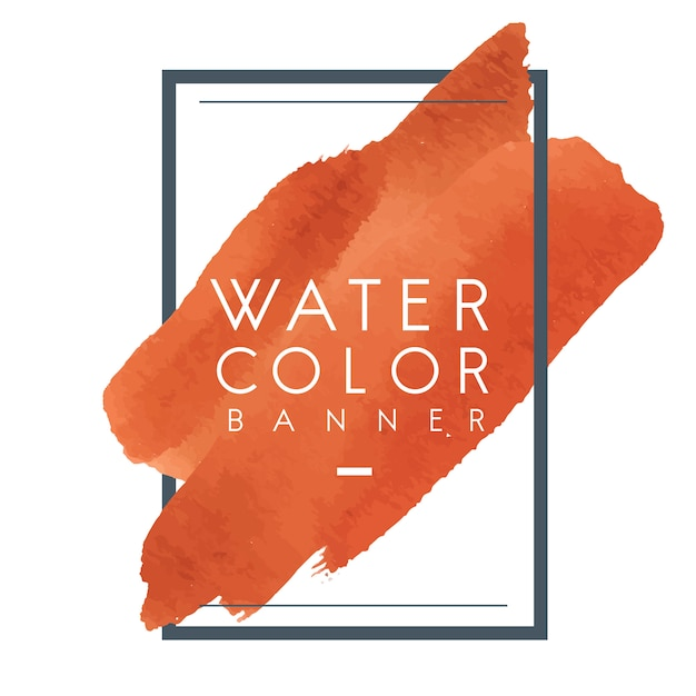 Orange watercolor banner design vector