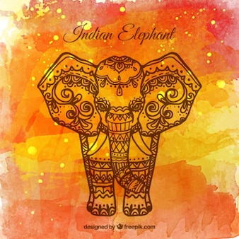 Orange watercolor ganpati background