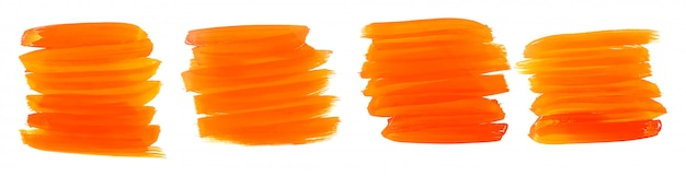 Orange watercolor paint brush strokes set of four