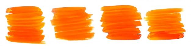 オレンジ色の水彩ペイントブラシストローク4個セット