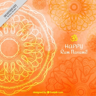 Orange watercolor ram navami background with mandalas