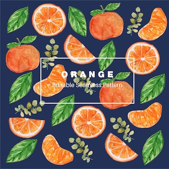 Orange watercolor seamless pattern