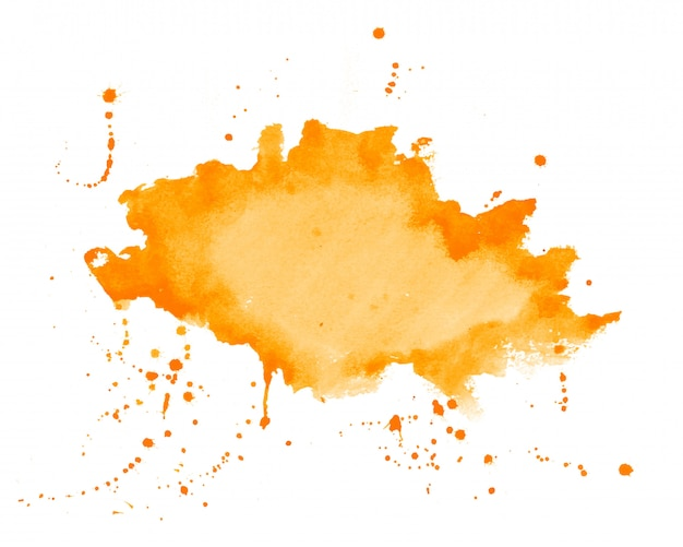Orange watercolor splatter stain texture background
