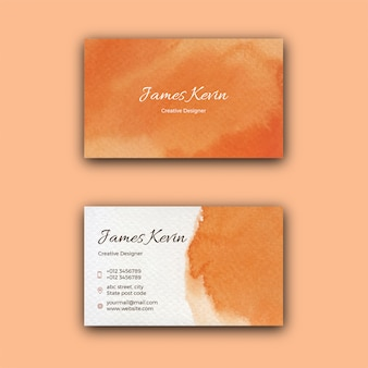 Шаблон визитной карточки оранжевые акварельные пятна