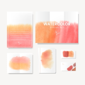 Orange watercolor style card vector