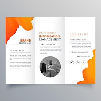 오렌지 수채화 trifold 비즈니스 전단지 브로셔 전단지 템플릿 디자인