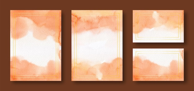 Orange watercolor wedding card templates with golden frame