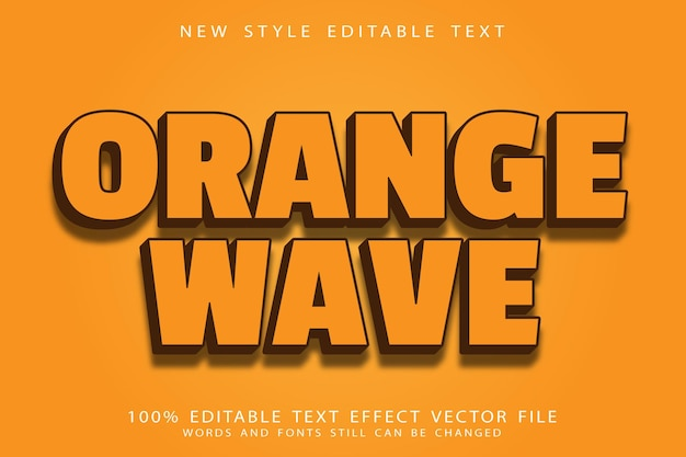 Orange wave editable text effect emboss modern style