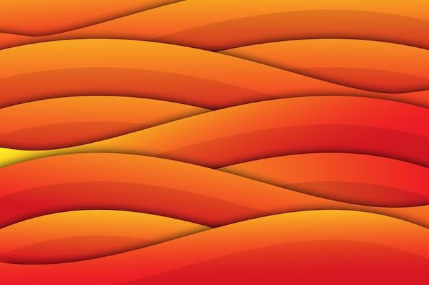 Orange wave geometric papercut background