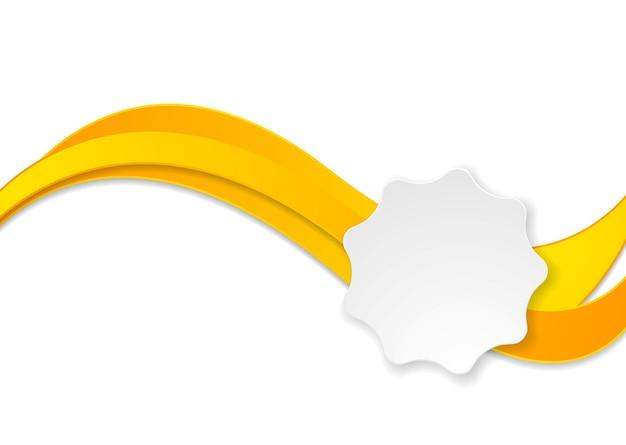 Orange waves and white label sticker. vector design
